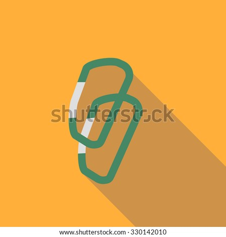 Climbing carabiner. Flat icon on the white background for web and mobile applications. Vector illustration. - stock vector