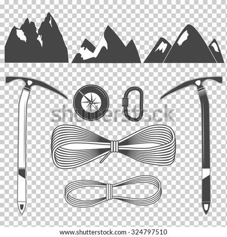 Climbing equipment vector set for your projects - stock vector