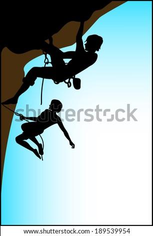 climbing on blue sky background - stock vector