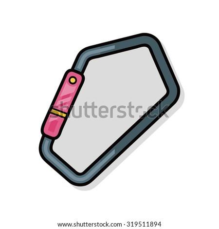 Climbing safety lock doodle - stock vector