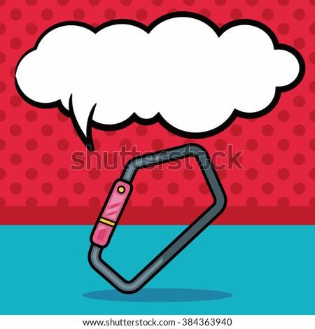 Climbing safety lock doodle, speech bubble - stock vector