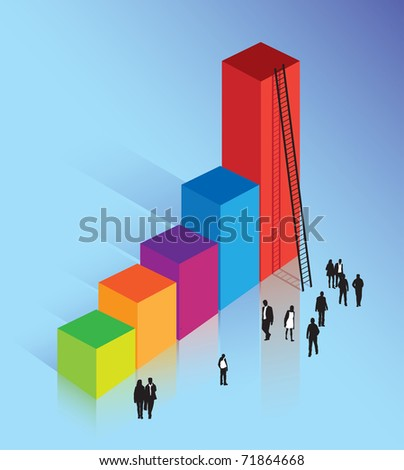 climbing the corporate ladder to business success - stock vector