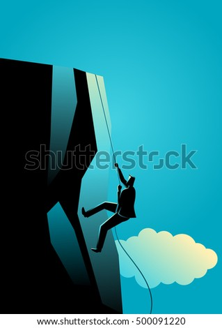 Climbing to the top, business concept illustration