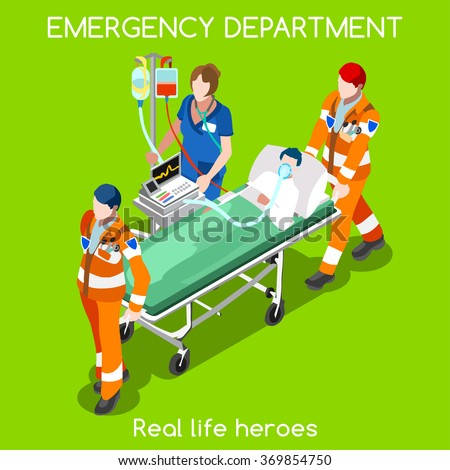 Clinic Accident Emergency Department Ambulance Service Infographic. First Aid Infographics. Adult Patient Stretcher with Clinic Nurse and Volunteers. Health Care 3D Flat Isometric People Vector Image. - stock vector
