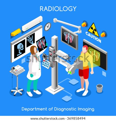 Clinic Medical Care Infographic. Hospital x-ray room x ray doctor and patient medical diagnostics. Bones body check up flat 3D isometric people collection. Healthcare Day Hospital Vector Image - stock vector
