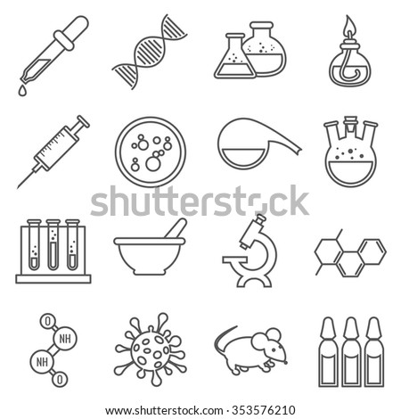 Clinical medical laboratory line  icons set. Microscope and dna, rat and bulb, virology and procedure molecular. Vector illustration - stock vector