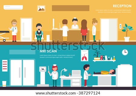 Clinical Reception and MRI Scanner flat hospital interior medical concept web. Nuclear magnetic resonance imaging tomography. Vector Illustration - stock vector