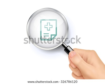 clinical record icon showing through magnifying glass held by hand