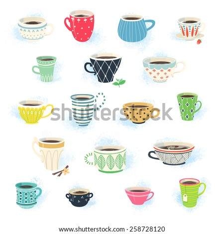 Clip art collection of cute tea and coffee cups - stock vector