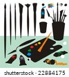 Clip art collection with paintbrushes, palette, spatula,kinife, cup, ink tubes, lids and blobs in color silhouettes. No gradient fills. Easy to customize. - stock vector