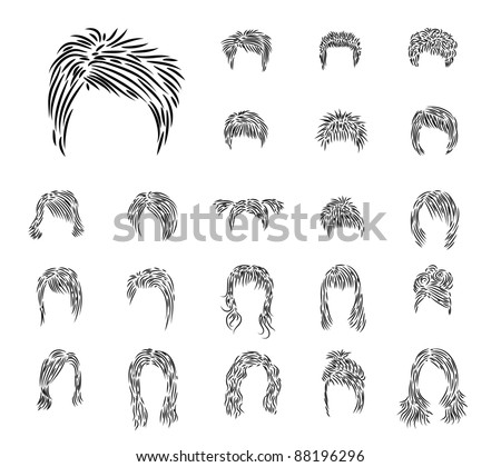 Clip-art from man's and female hairdressers a black brush - stock vector