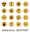 Clip-art from yellow buttons on a danger theme - stock photo