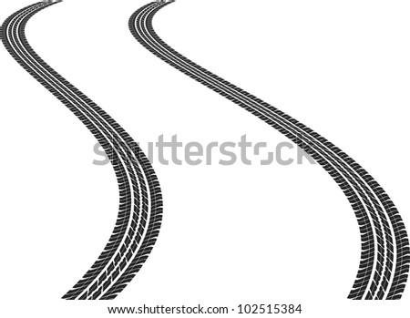 clip art illustration of tire tracks - stock vector