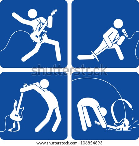 Clip art illustration styled like a universal sign showing stick figure rock and roll artists performing on stage�playing electric guitar, singing, and smashing a guitar.