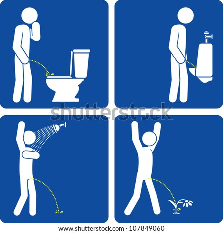 Clip art illustration styled like universal signs showing a man urinating on a toilet seat, at a urinal, in the shower, and on a flower. - stock vector