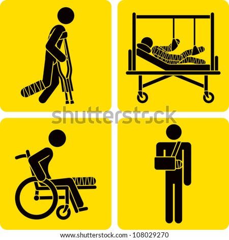 Clip art illustration styled like universal signs showing a stick figure man with a broken bone. Includes broken leg with crutches, broken leg in wheelchair, broken arm in sling, and full body cast. - stock vector