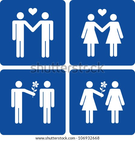 Clip art illustration styled like universal signs showing stick figure homosexual couples.
