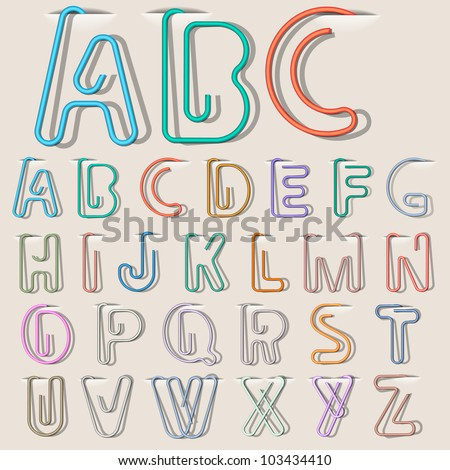 Clip paper in form alphabet letters. Vector eps10 - stock vector