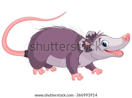 Clipart illustration of cute cartoon opossum - stock vector