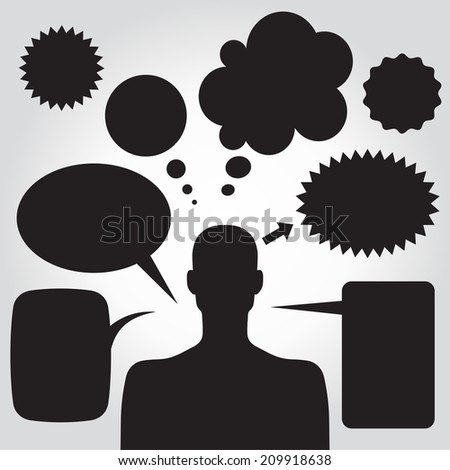 Clipart of man with speech bubbles. Vector illustration - stock vector