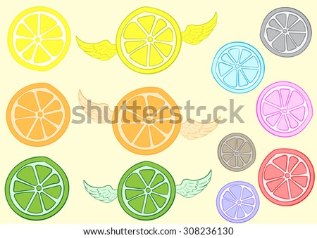 Clipart with a lime a lemon and orange with wings and without - stock vector