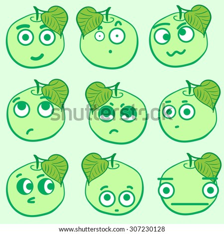 Clipart with emotional big-eyed green apples with leaves - stock vector