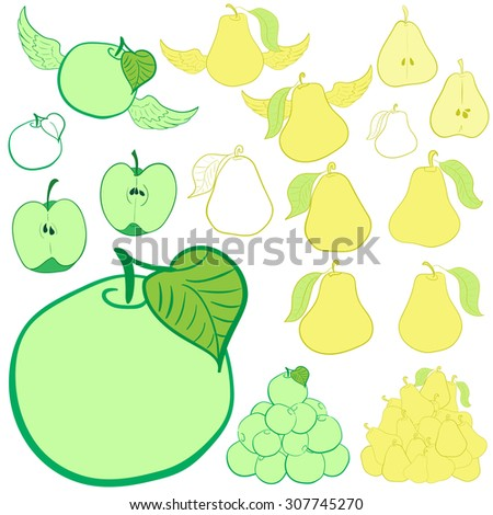 Clipart with green apples and yellow pears - stock vector