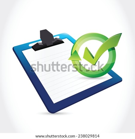 clipboard and check mark illustration design over a white background - stock vector