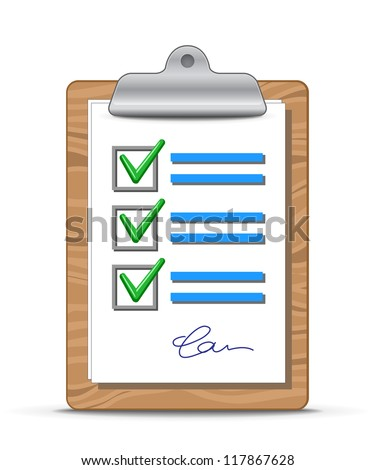 Clipboard and checklist. Wooden clipboard with a sheet of paper - stock vector