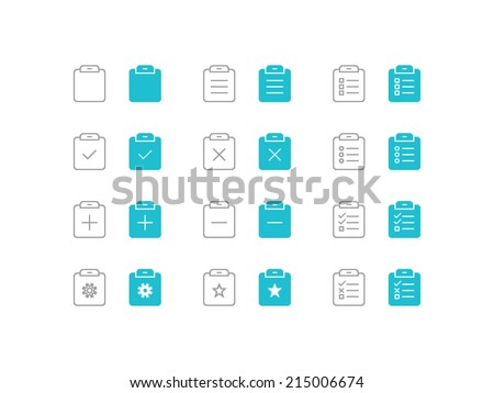 Clipboard and pasting set. Trendy thin icons for web and mobile. Line and full versions. Normal and enable state - stock vector