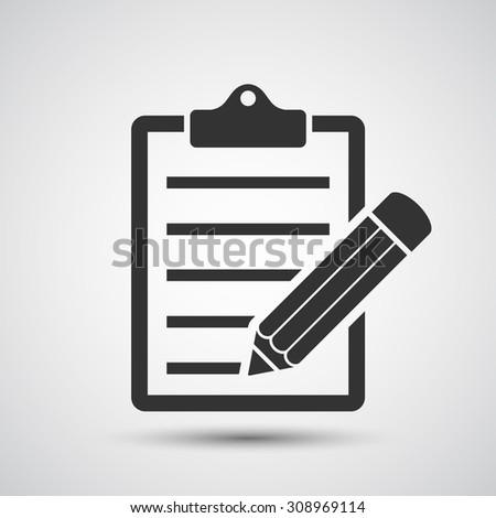 Clipboard and pencil icon - Vector - stock vector