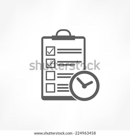 clipboard & clock icon - stock vector