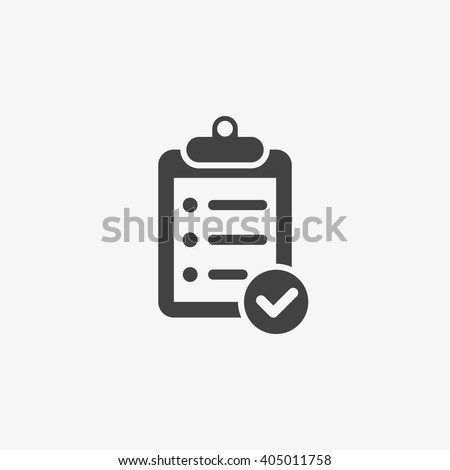 Clipboard Icon in trendy flat style isolated on grey background. Checklist symbol for your web site design, logo, app, UI. Vector illustration, EPS10. - stock vector
