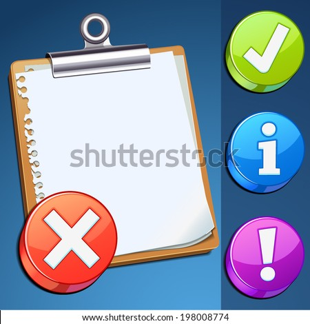 Clipboard icon with color button (vector illustration)