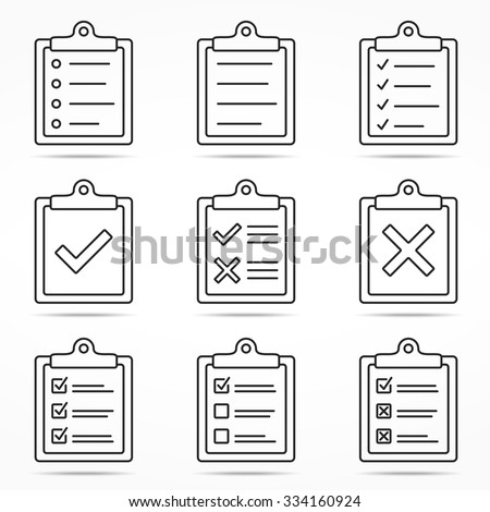 Clipboard icons with check and cross symbols, minimal line style, vector eps10 illustration - stock vector