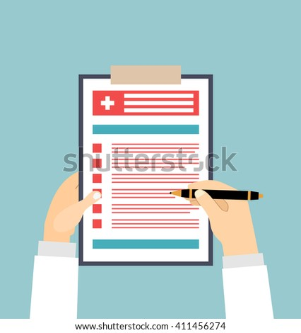 Clipboard in his hand doctor. Doctor takes notes in a Clipboard. Clipboard, hand, pen. Medical report, medical background. Vector, flat design. Patient care.  - stock vector