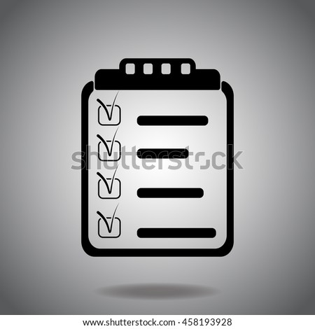 Clipboard, List icon vector. Flat icon on gray background. Simple illustration. - stock vector