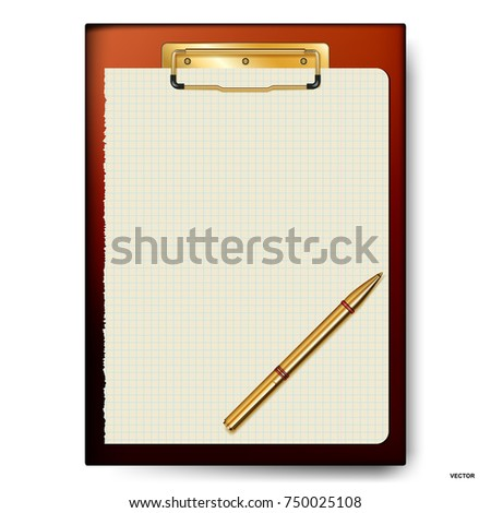 Clipboard, paper sheet, golden pen for business planning, to-do list.