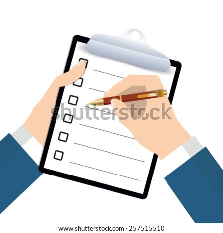 Clipboard with blank paper and pen in the hands of a man - stock vector