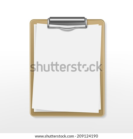clipboard with blank paper over white background - stock vector