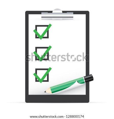 Clipboard with check boxes and pen vector EPS10