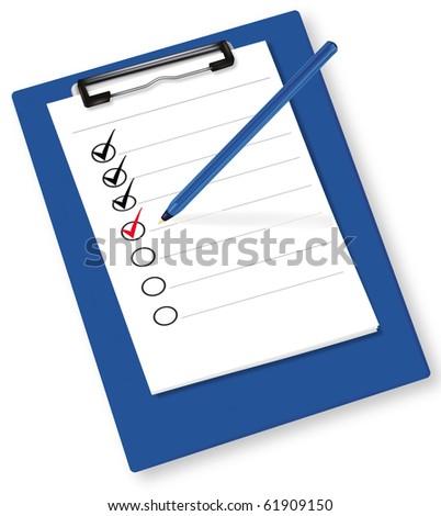 Clipboard with check-boxes. Vector. - stock vector