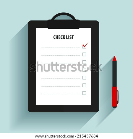 Clipboard with check list. - stock vector