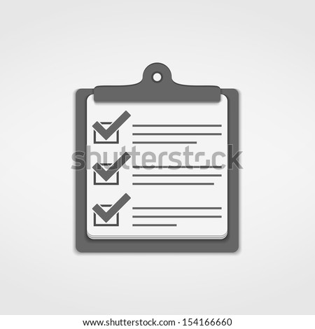Clipboard with check list icon, vector eps10 illustration - stock vector