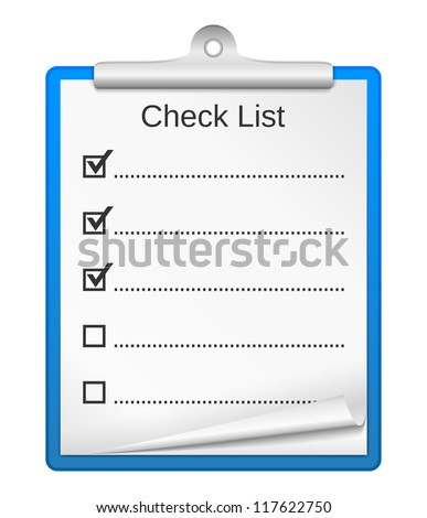 Clipboard with check list, vector eps10 illustration - stock vector
