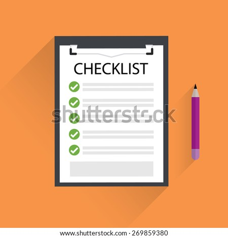 Clipboard with checklist. - stock vector