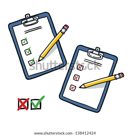 Clipboard with checklist and pencil. heck and cross symbols. Cartoon illustration isolated on white background - stock vector