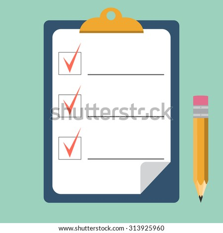 Clipboard with checklist and pencil. Quality Check. flat style. Vector illustration - stock vector