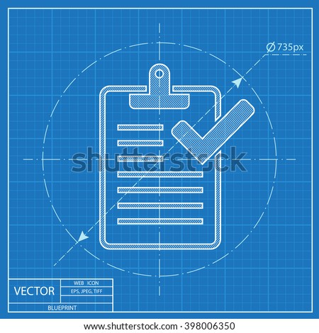 Blueprint icon computer stock vector 411493447 shutterstock clipboard with checklist blueprint icon malvernweather Images