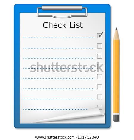 Clipboard with checklist, vector eps10 illustration - stock vector